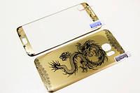 Защитное стекло для Samsung Galaxy S7 Edge с рисунком дракона и загнутыми краями, золотое