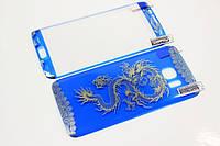 Защитное стекло для Samsung Galaxy S7 Edge с рисунком дракона и загнутыми краями, голубое