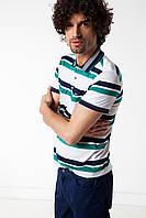 Мужское поло De Facto белого цвета в сине-зеленые полоски