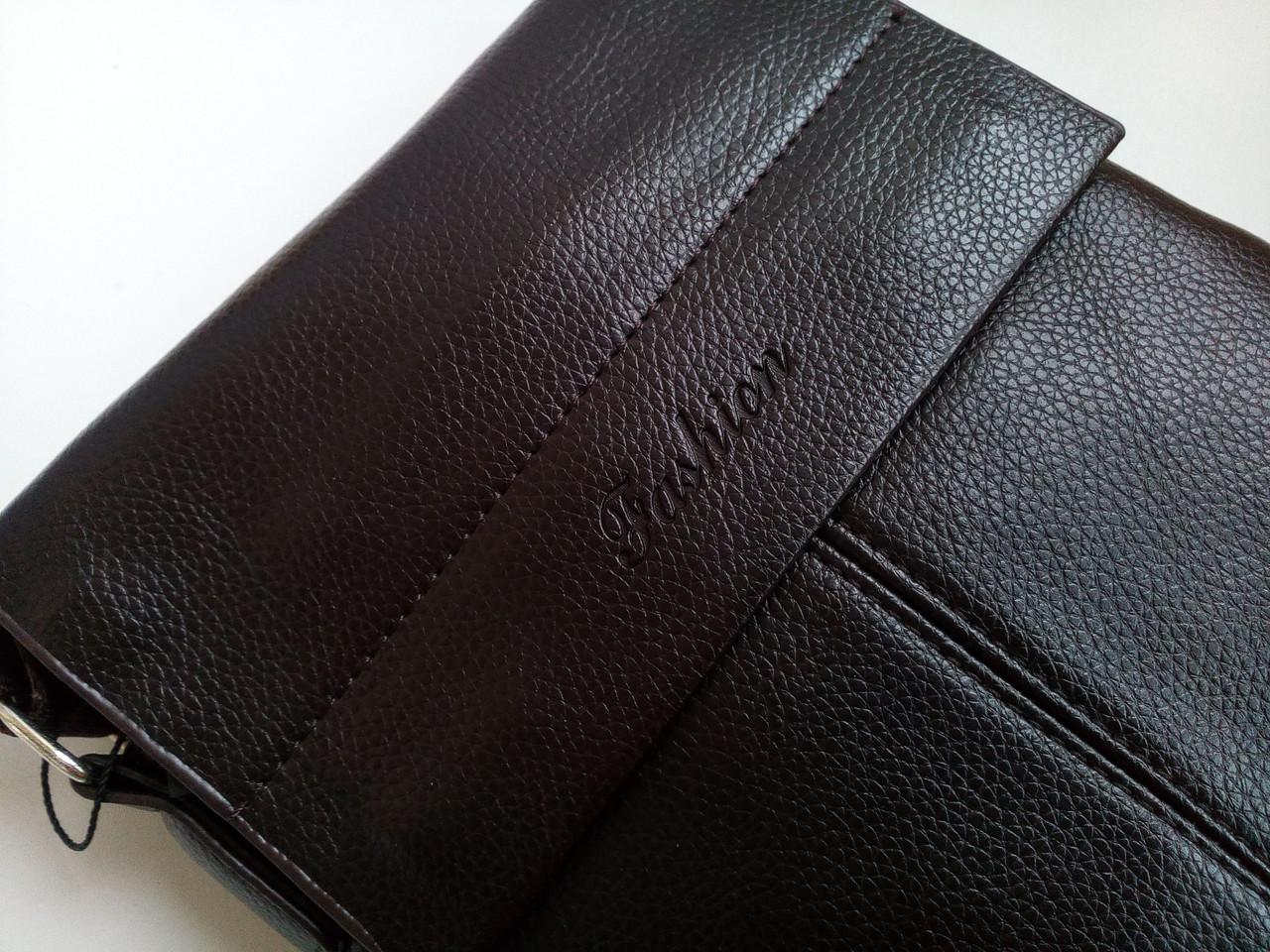 Мужская сумка планшетка кожа pu fashion темно коричневая