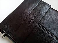 Мужская сумка планшетка кожа pu fashion темно коричневая 19*21