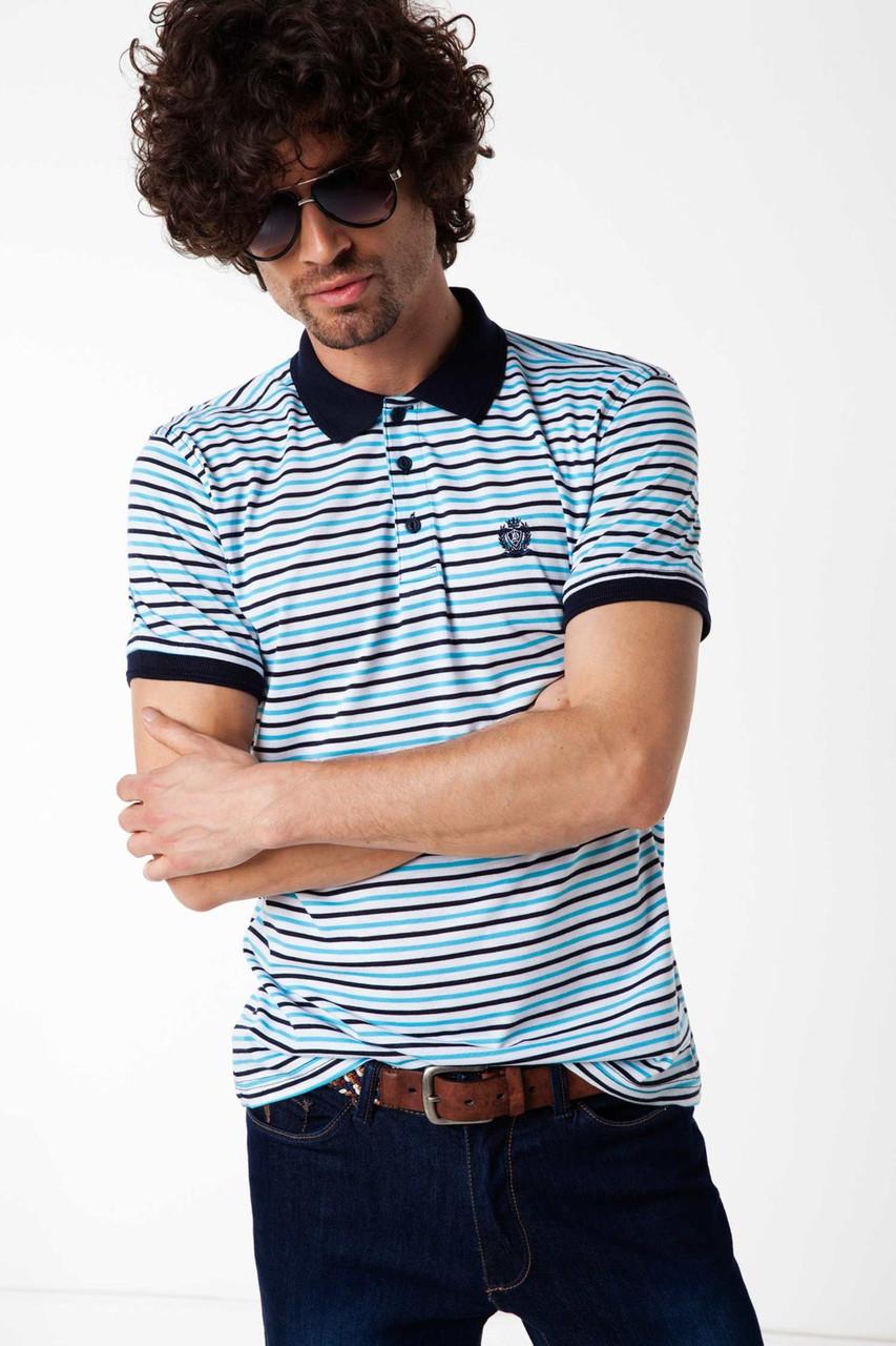 Мужское поло De Facto белого цвета в полоски с синим воротником