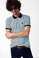 Мужское поло De Facto белого цвета в полоски с синим воротником, фото 1
