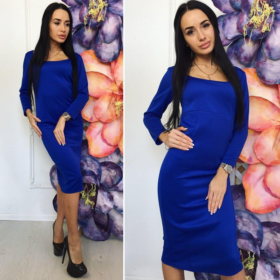 Платье повседненое,ниже колен,размеры 42-44 и 44-46 ткань дайвинг цвет электрик