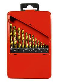 Набор нитридтитан. сверл по металлу, 1,5-6,5мм (через 0,5мм+3,2мм; 4,8мм), НSS,13 шт.// MTX