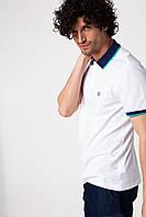 Мужское поло De Facto белого цвета с синим воротником
