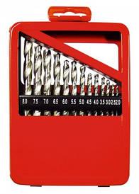 Набор сверл по металлу, 2-8 мм (через 0,5 мм), HSS, 13 шт., метал. коробка цил. хвостовик// MTX