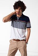 Мужское поло De Facto бело-синего цвета в полоски