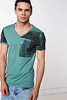 Мужская футболка De Facto изумрудного цвета с надписями на рукавах