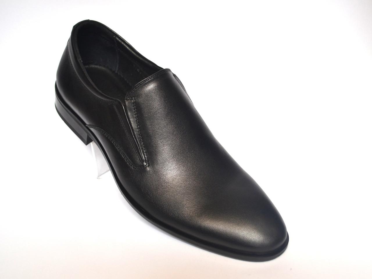 Туфли мужские на резинке кожаные черные классические обувь Rosso Avangard FeliceteZo Oxford Without laces