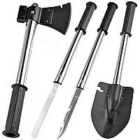 Универсальный набор туриста, охотника, рыбака, 6 в 1, лопата, топор, пила, штык-нож, из стали, чехол
