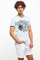 Мужская футболка De Facto светло-голубого цвета с надписью на груди