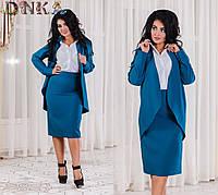 7f1b8f9066f Костюм батал ткань креп костюмка + креп шифон блуза(обманка)+ юбка карандаш  2