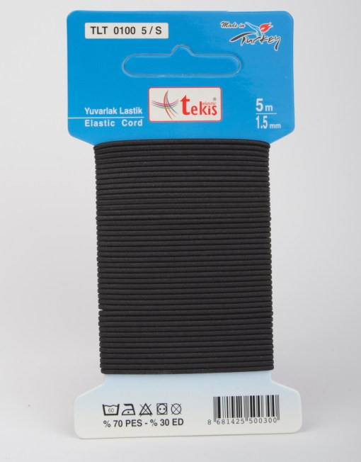 1,5 mm Round Elastic / 5 m / Black