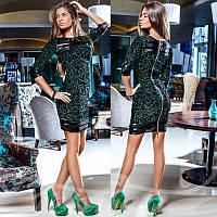 Коктейльное платье из гипюра Gr  14525  Изумруд