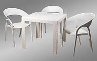 Стол пластиковый OW-T209S белый имитация под ротанг для открытых площадок кафе, ресторана, пивного паба