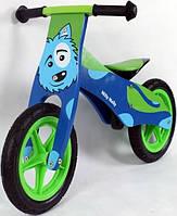 Велосипед беговой велокат Milly Mally беговел Duplo dog надувные колеса дерево Польша
