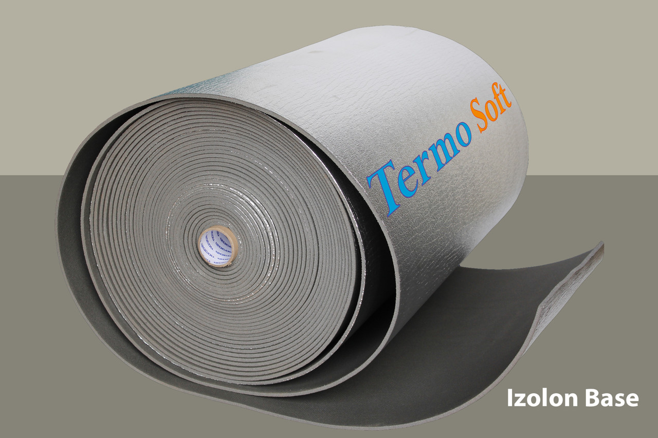 Тепло , шумоизоляция Izolon Base 10 фольгированный, полотно ППЭ НХ+фольга-10мм