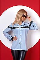 Модная женская молодежная рубашка голубого цвета