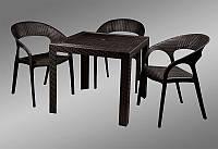 Стол пластиковый OW-T209S черный имитация под ротанг для открытых площадок кафе, ресторана, пивного паба