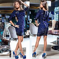 Коктейльное платье из гипюра Gr  14525  Синий