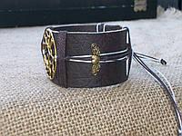 Красивый браслет из кожи ДЕРЕВО ручная работа