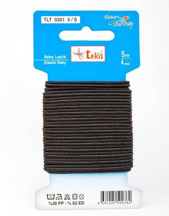 Резинки 4 mm Baby Elastic (Double Tube Elastic) / 5m / Black, фото 2
