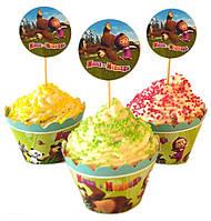 """Топперы для капкейков, десертов и кексов """"Маша и Медведь"""", 6 шт./уп."""