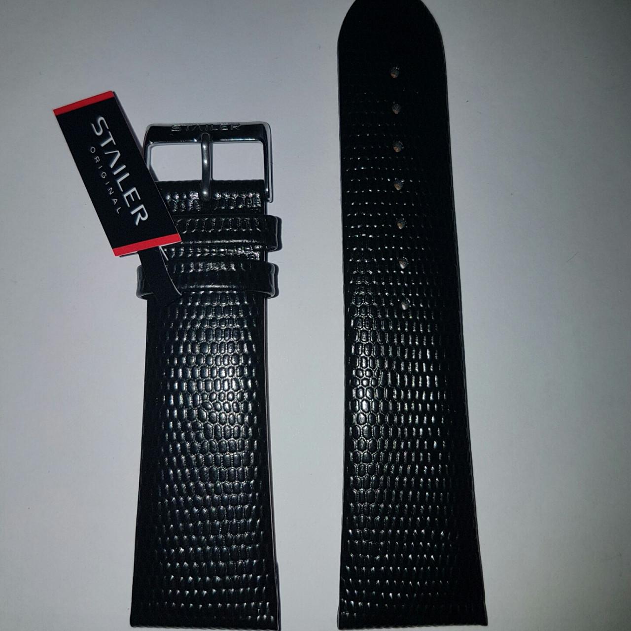 Кожаный ремень Stailer- черный ремень с выделкой под ящерицу и подкладкой из нубука