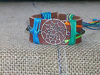 Оригинальный браслет из натуральной кожи МАНДАЛА (ловец снов),ручная работа