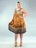 Платье свободное (ламбада) коричневое, рыжее, золотистое, до 58-го размера