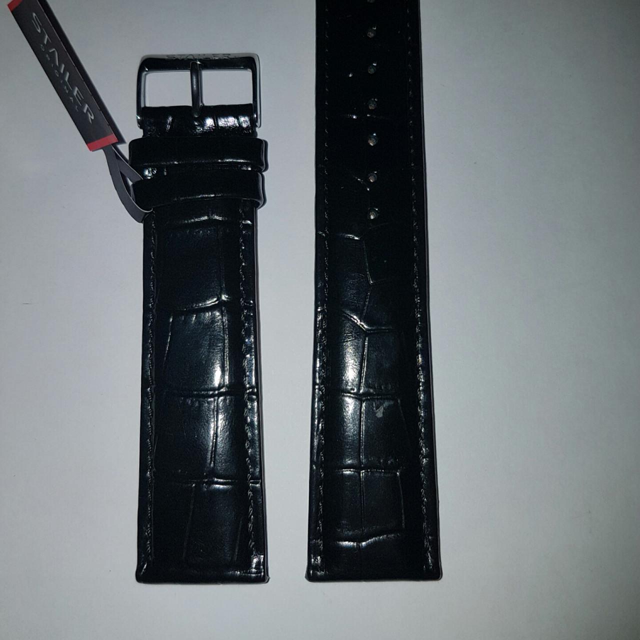Кожаный ремень Stailer- черный глянцевый ремень с выделкой под крокодил и подкладкой из нубука