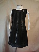 Черный сарафан с кожаными вставками на девочку 146 рост