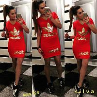 Женское трикотажное спортивное платье туника красного цвета с накаткой
