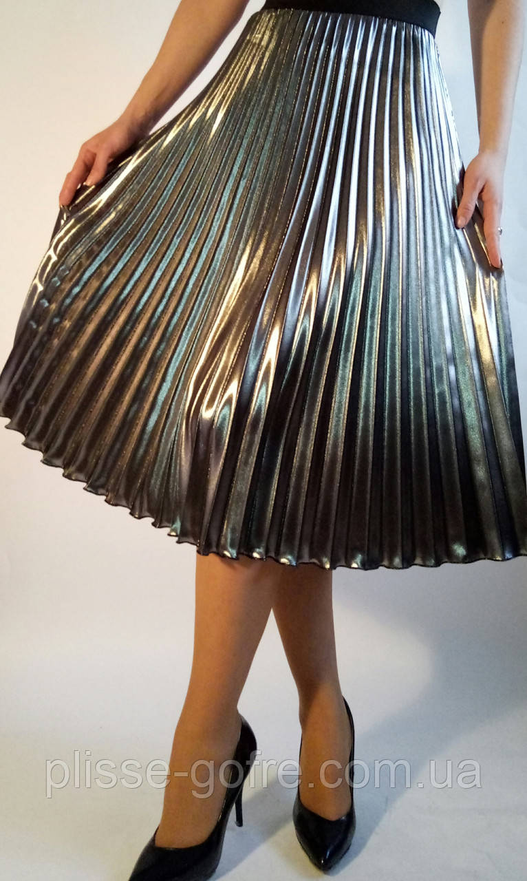 97faf28fa7d Юбка плиссированная гофре полусолнце сатин металлизированный