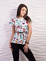 Легкая летняя блуза с тонким пояком
