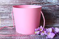 """Коробка под цветы """"Ведерко"""" с ручкой розового цвета"""