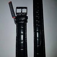 Кожаный ремень Stailer- черный,глянцевый ремень с выделкой под крокодила и нубуковой подкладкой