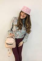 Розовая шляпа канотье в нежный белый цветочек