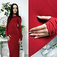 Модное стильное бордовое спортивное длинное платье с рукавом варежкой
