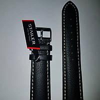 Кожаный ремень Stailer- ремень чёрный, гладкий с белой прошивкой и с подкладкой из нубука
