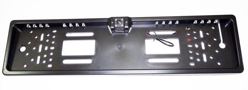 Камера заднего вида в рамке автомобильного номера с LED подсветкой Чер