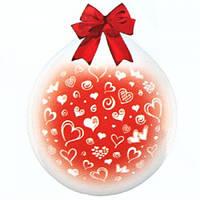 """Шар-Упаковщик 18"""" 45 см Сердечки кристалл прозрачный для упаковки подарков и цветов"""
