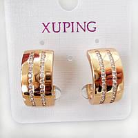 Серьги колечки с цирконием Xuping позолота 18К длина 2см