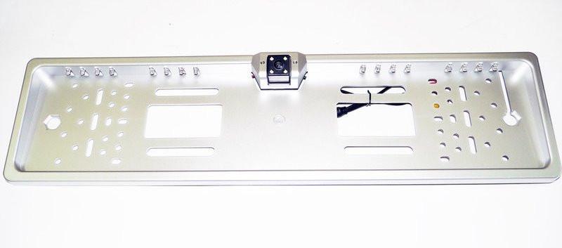 Камера заднего вида в рамке автомобильного номера с LED подсветкой Сер