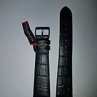 Кожаный ремень Stailer- черный, матовый крокодил без прошивки и нубуковой подкладкой