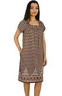 Женское свободное платье-туника-коричневое