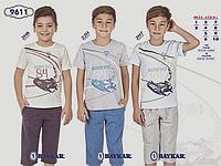 Костюм (футболка+бриджи) для мальчика ТМ Baykar р.7-10 лет, молочный с серым (4 шт в ростовке)