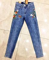 Стильные женские джинсы с вышивкой в больших размерах (DG-ат 4603)