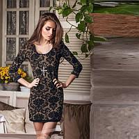 Короткое платье из 3D ткани  Gr  10176  Коричневый